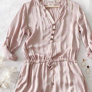 Silky Drawstring Waist Pull Tab Sleeve Dress